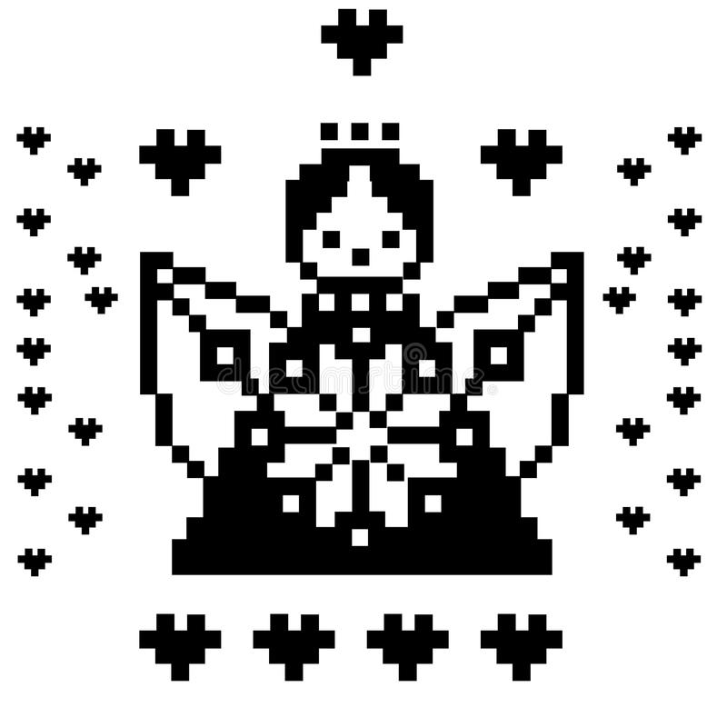 Pixel art angel, heaven, characters isolated on white background. Vector illustration. royalty free illustration