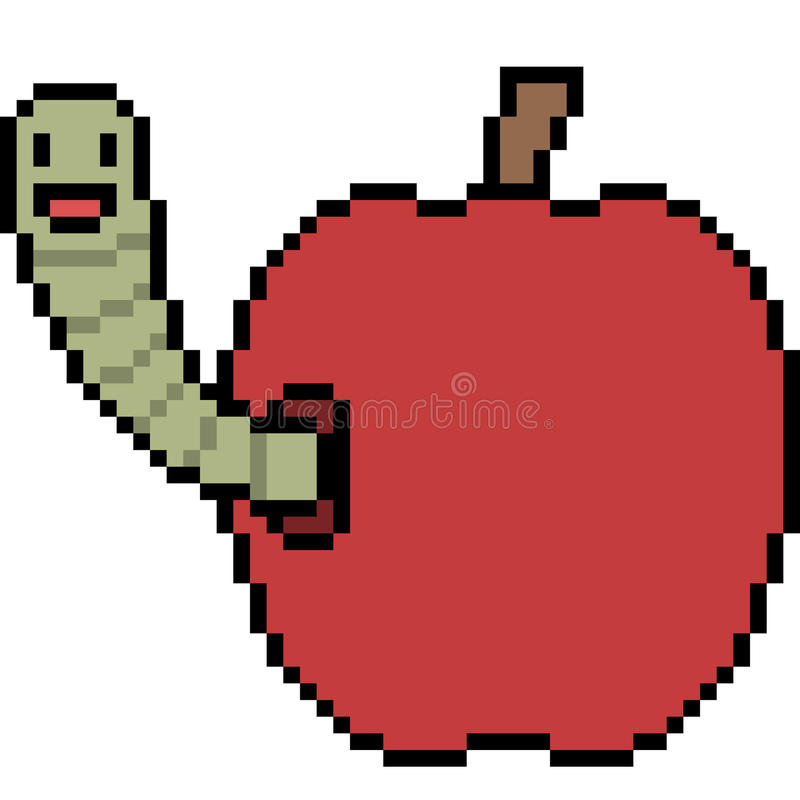 Pixel Art Apple Worm Stock Vector. Illustration Of