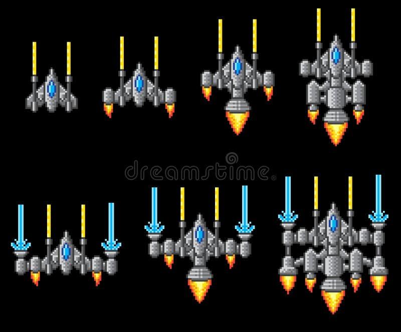 Pixel Art Arcade Video Game Spaceship illustration stock