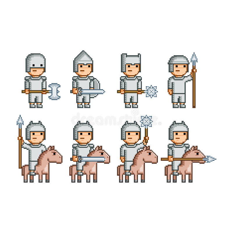 Pixel art army of knights and horsemen royalty free stock photography