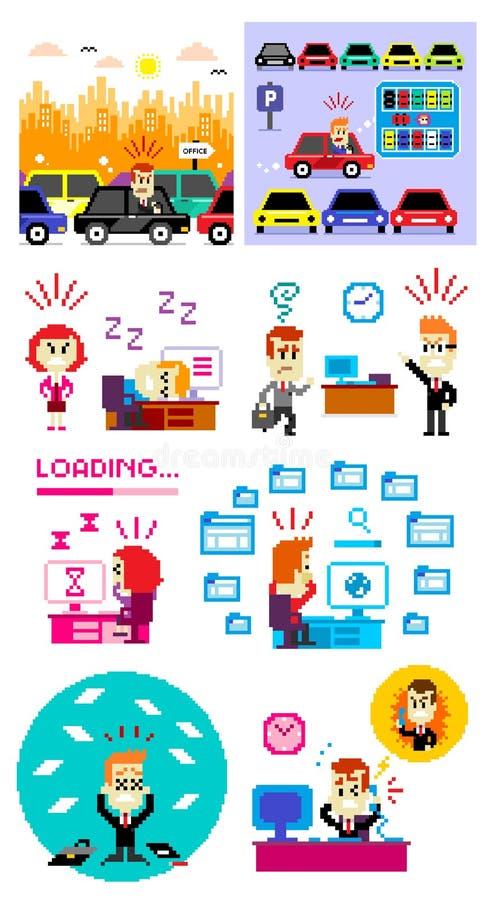 Pixel Art Bad Day a trabalhar ilustração stock