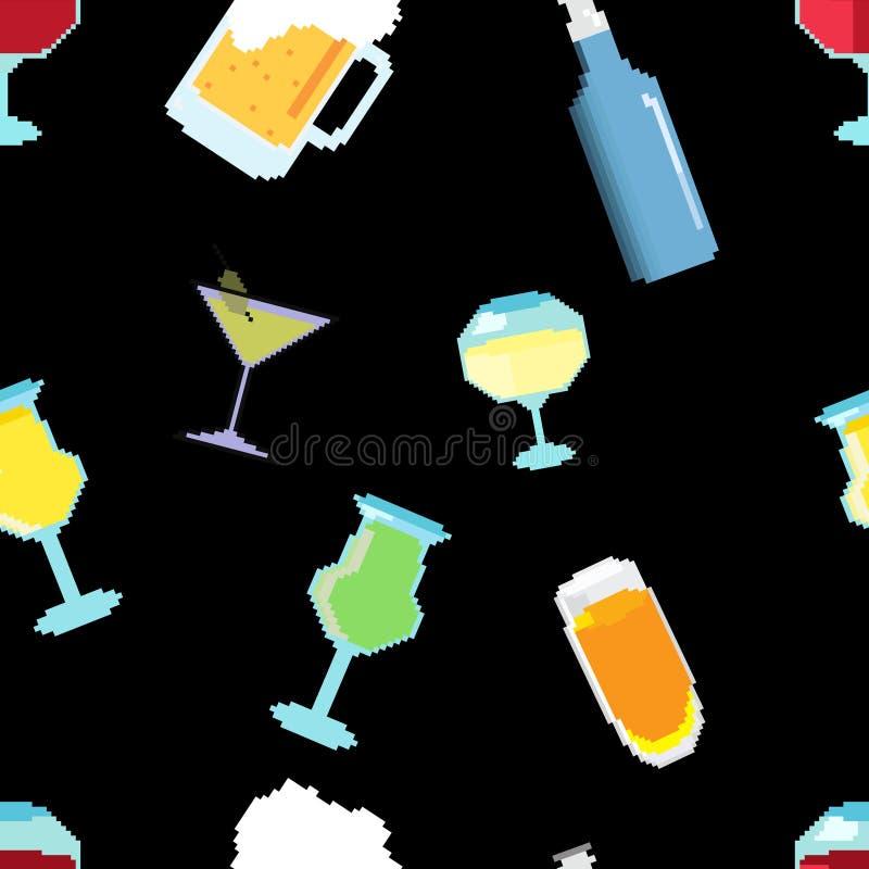 Pixel Art Bar Drinks Seamless Pattern del vector stock de ilustración