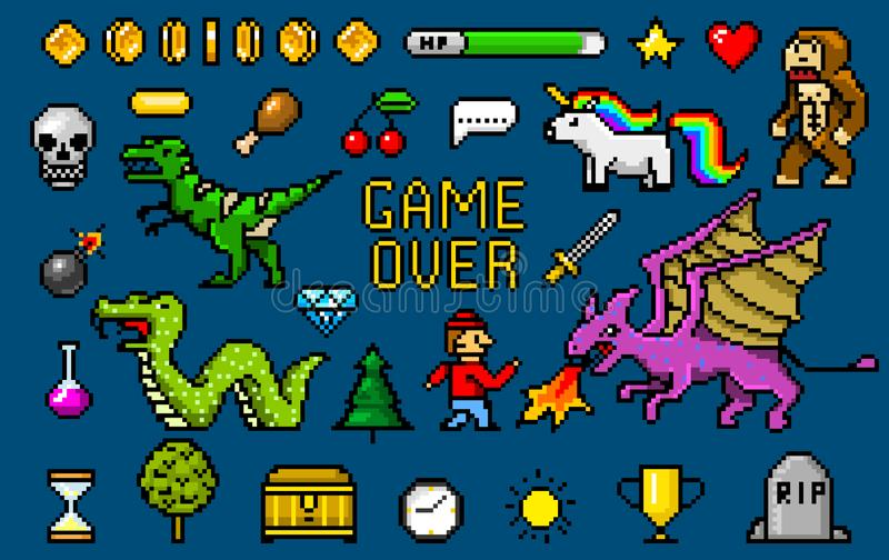 Pixel art 8 bit objects. Retro game assets. Set of icons. vintage computer video arcades. characters dinosaur pony royalty free illustration