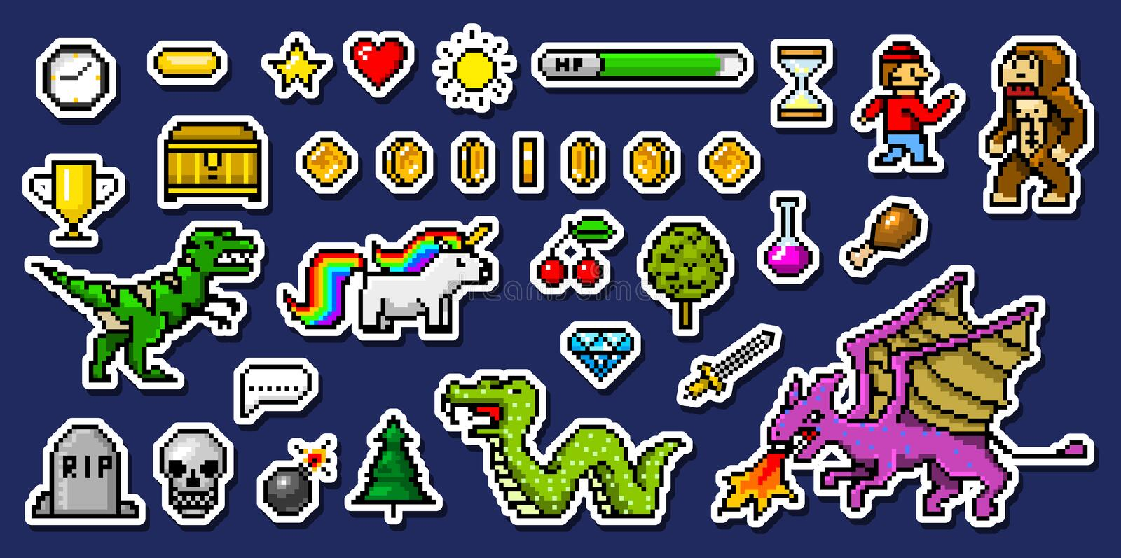 Pixel art 8 bit objects. Retro game assets. Set of icons. vintage computer video arcades. characters dinosaur pony vector illustration