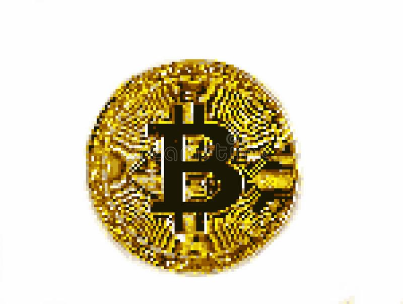 Pixel art bitcoin royalty free stock photography