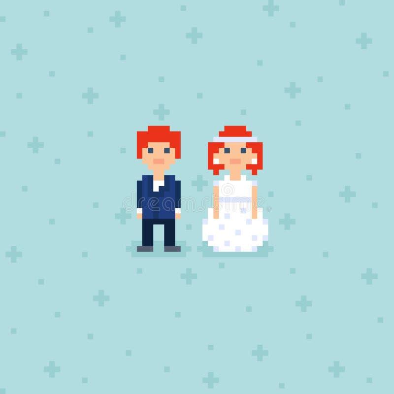Pixel Art bröllop med två tecken stock illustrationer