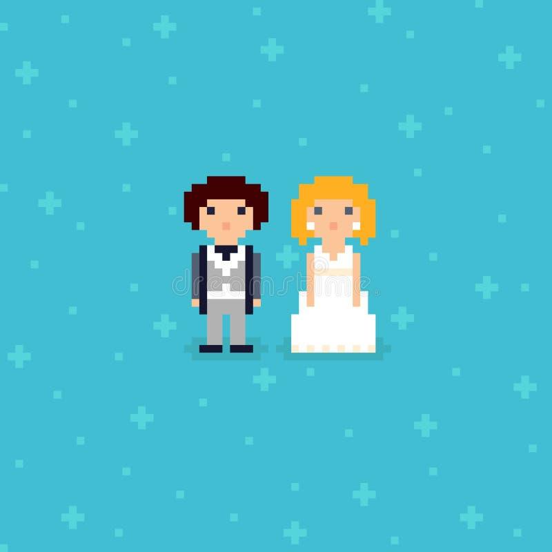 Pixel Art bröllop med två tecken royaltyfri illustrationer