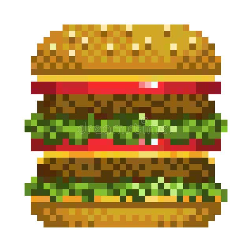 Pixel Burger Icon, 32X23 Pix, Vector Illustration Stock Vector - Illustration of background ...