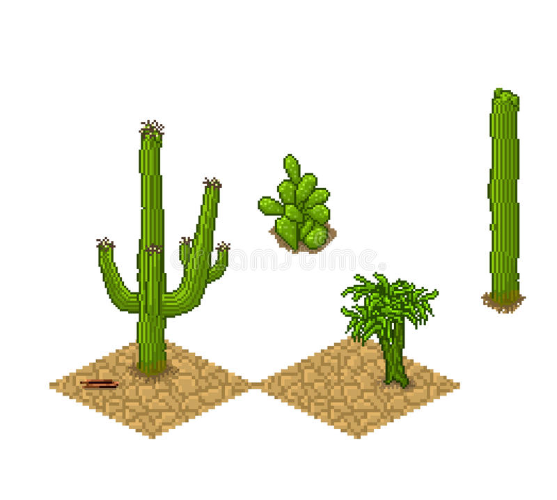 Pixel art cactus tilesets and plants. Vector game royalty free illustration