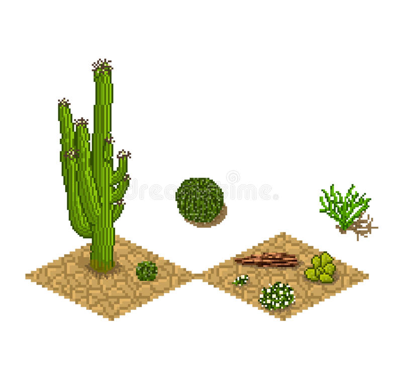 Pixel art cactus tilesets and plants. Vector game stock illustration