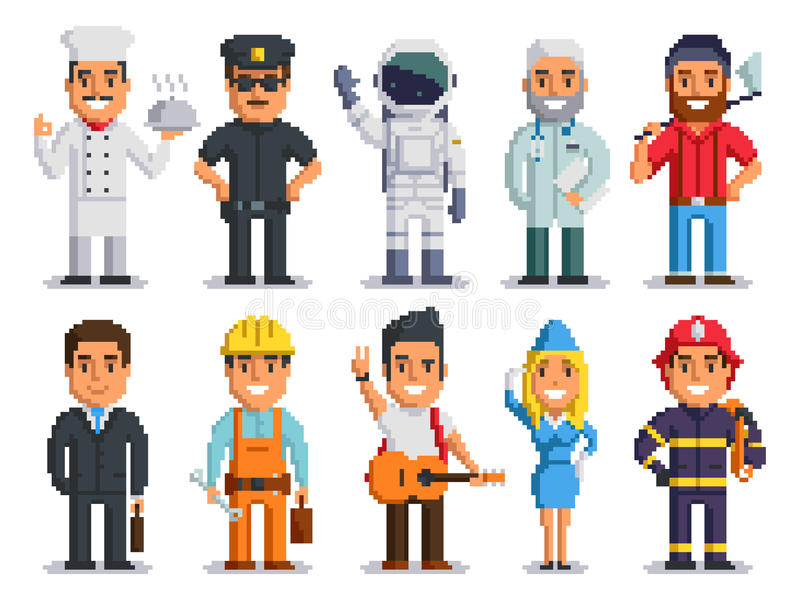 Pixel art characters professions people isolated set stock photo