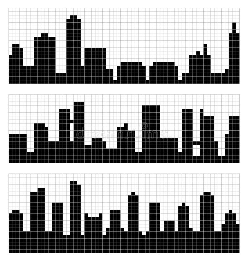 PIXEL Art City Skyline vektor illustrationer