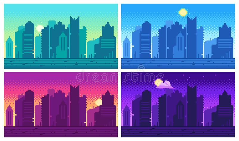 Pixel art cityscape. Town street 8 bit city landscape, night and daytime urban arcade game location royalty free illustration
