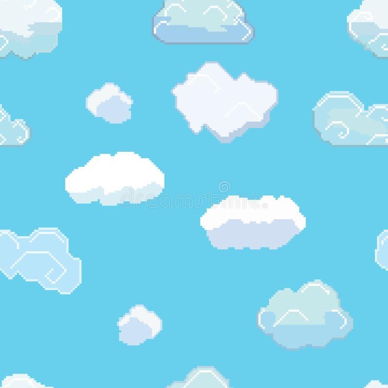 Pixel Art Clouds Seamless Pattern del vector ilustración del vector
