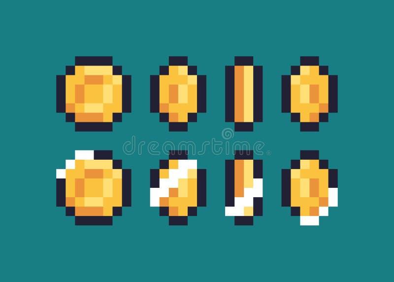 Pixel Art Coin stock illustratie