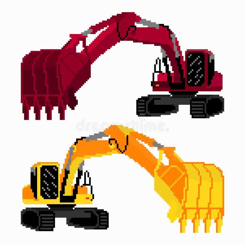 Pixel art colored excavators. (vector eps 10 stock illustration