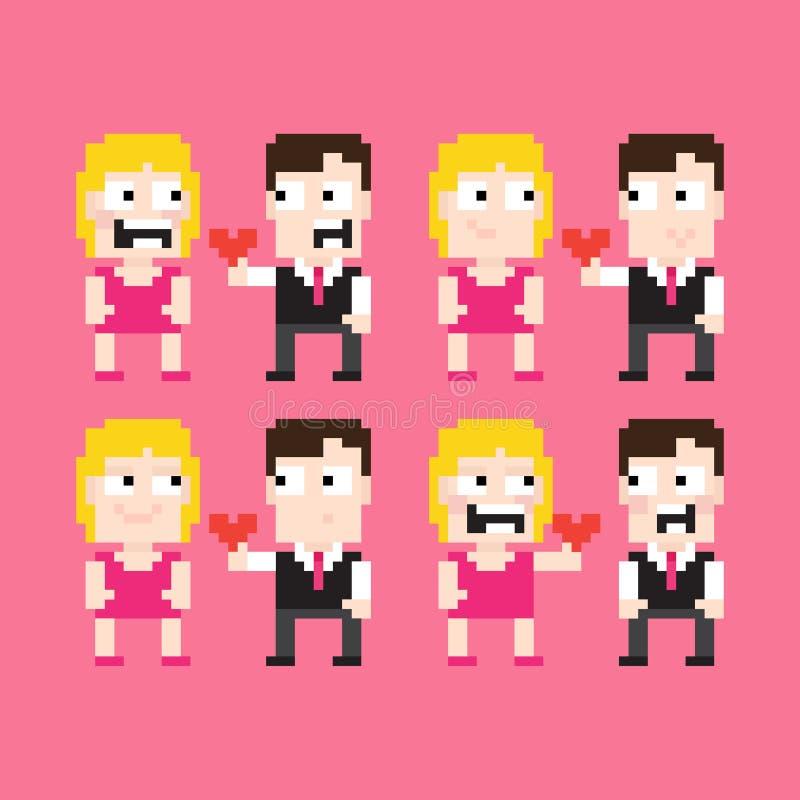 Pixel Art Couple illustration de vecteur