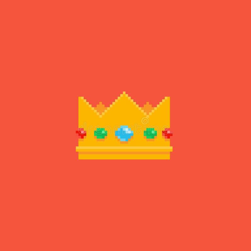 Pixel Art Crown ilustración del vector