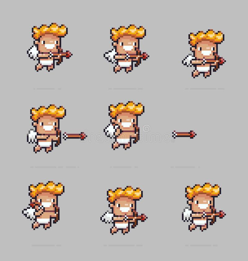 PIXEL Art Cupid stock illustrationer