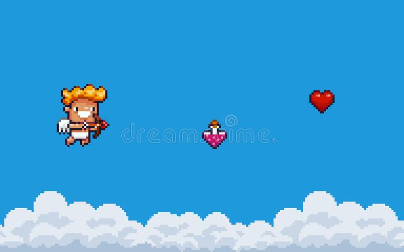 PIXEL Art Cupid vektor illustrationer