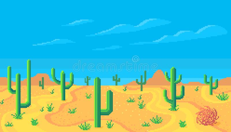 Pixel art desert at day. Seamless background. Vector illustration vector illustration