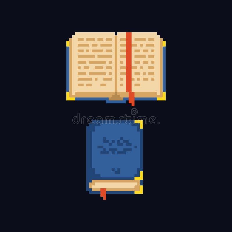 Pixel art design 8 bit retro icon - opened and closed book vector illustration