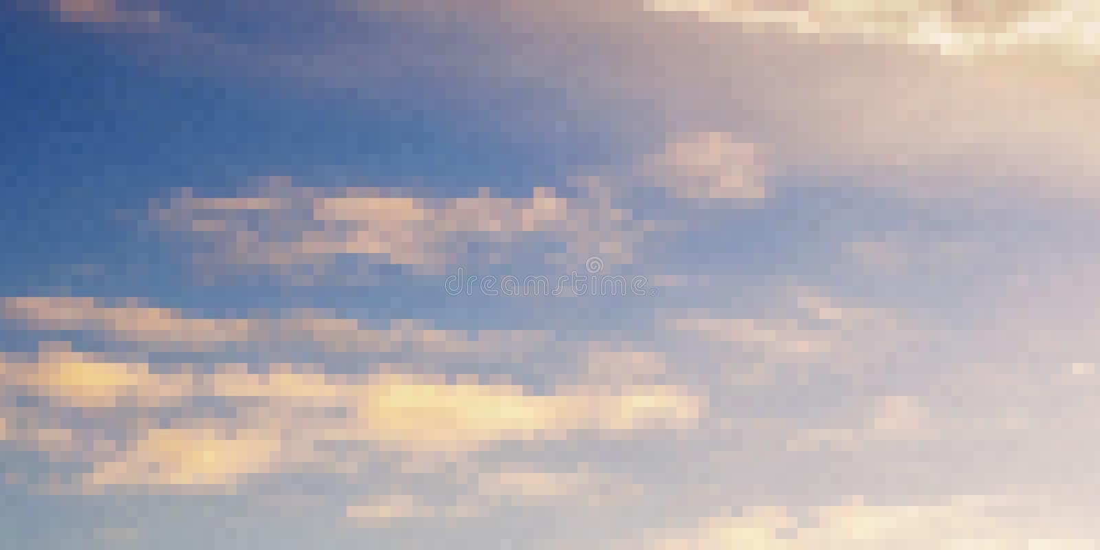 Pixel art design of sky. Vector illustration. Abstract blue sky in pixel styl stock image