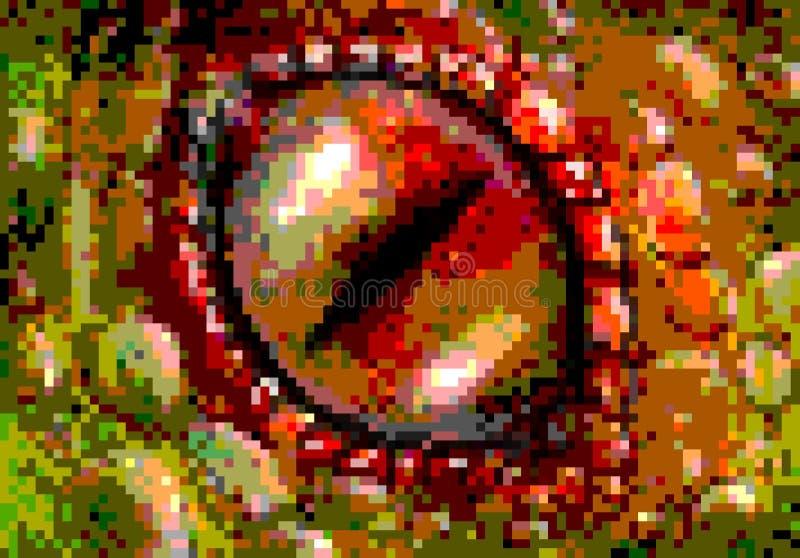 Pixel art dragon eye. Eye of a lizard or a dragon drawin in retro pixel style vector illustration