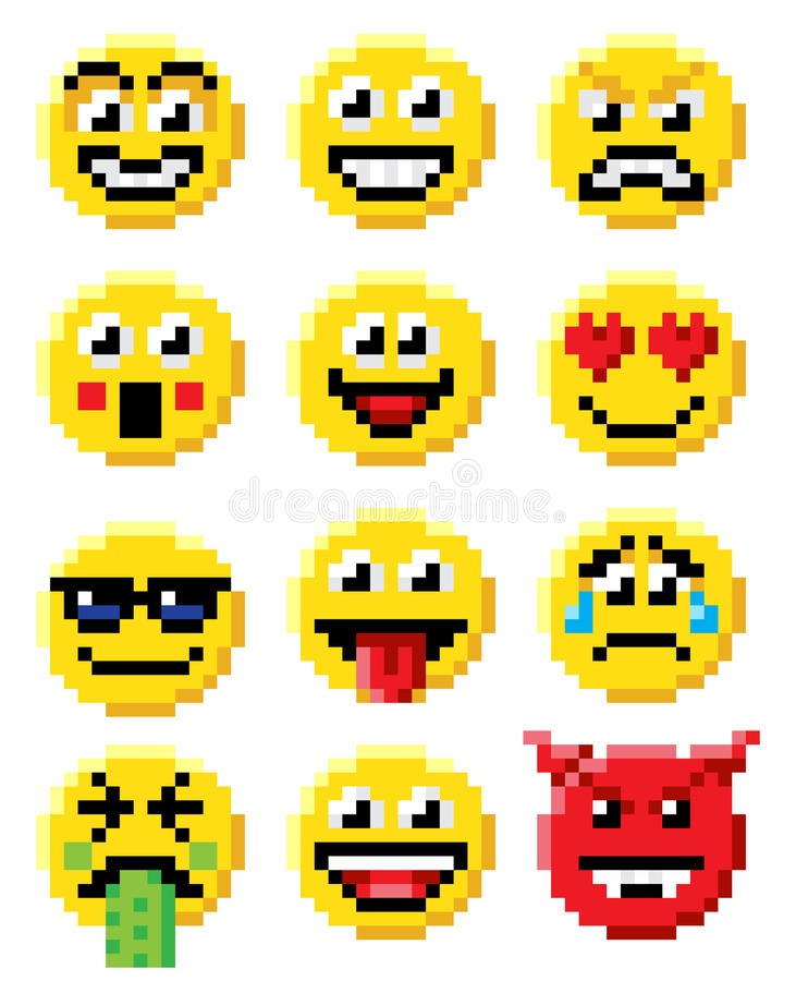 Pixel Art Emoji Emoticon Set illustration de vecteur