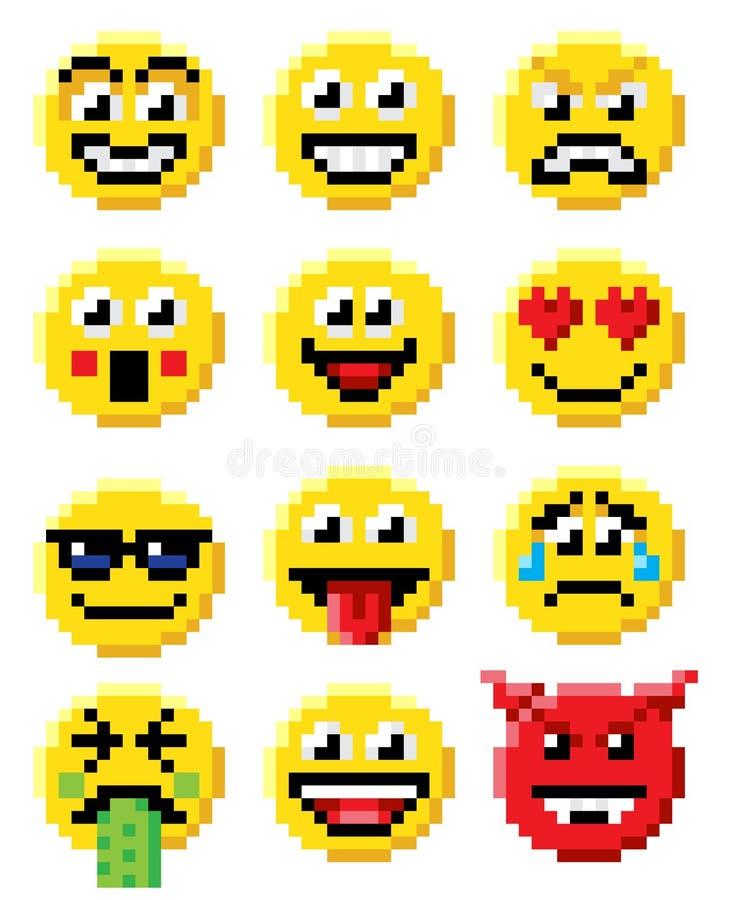 Pixel Art Emoji Emoticon Set Stock Vector
