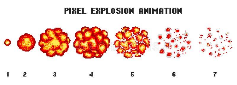 Pixel art explosions. game icons set. Comic boom flame effects for emotion. 8-Bit Vector. Bang burst explode flash royalty free illustration