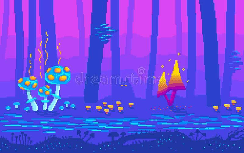 Pixel art fantasy game location with mushrooms royalty free illustration