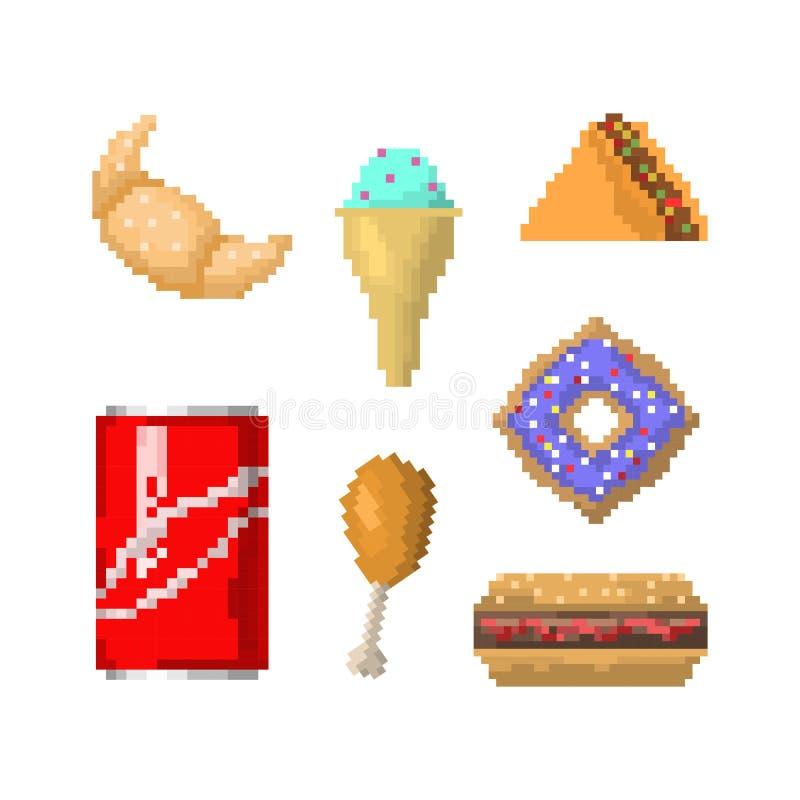 Pixel Art Fast Food Vector Set Stock Vector Illustration