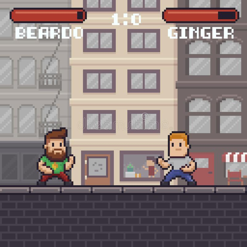 PIXEL Art Fighting royaltyfri illustrationer