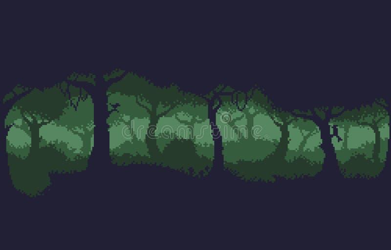Pixel Art Forest illustrazione di stock