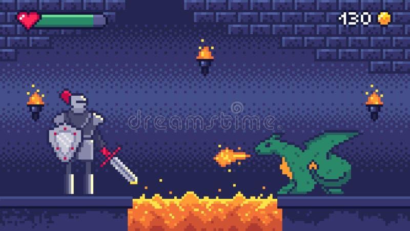 Pixel art game level. Hero warrior fights 8 bit dragon, pixels video games levels scene landscape and retro gaming stock illustration