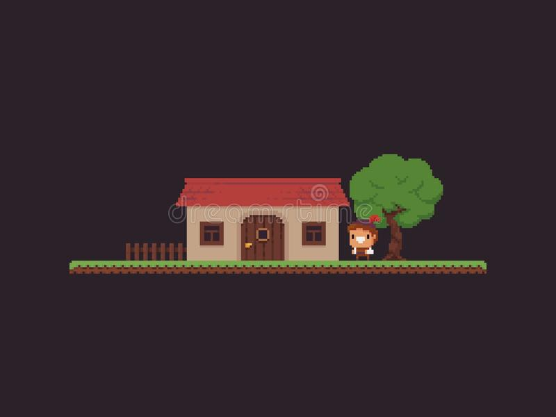 Pixel Art Game Scene illustration stock
