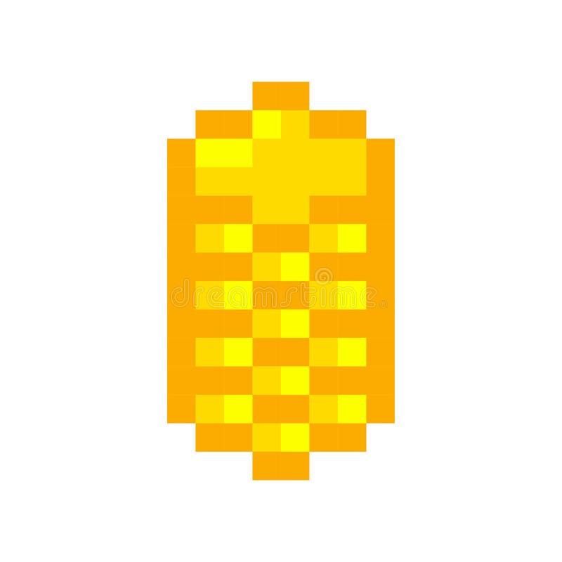 Pixel art golden coin retro video game vector illustration