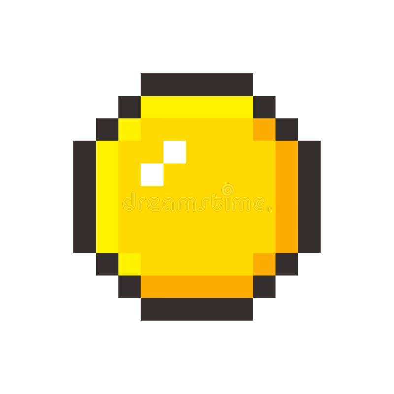 Pixel art golden coin retro video game royalty free illustration
