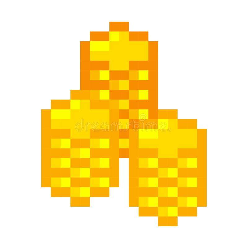 Pixel art golden coin retro video game stock illustration