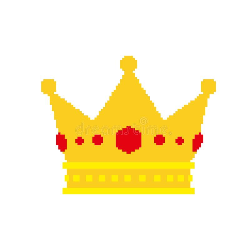 Pixel art golden crown with jewels. stock illustration