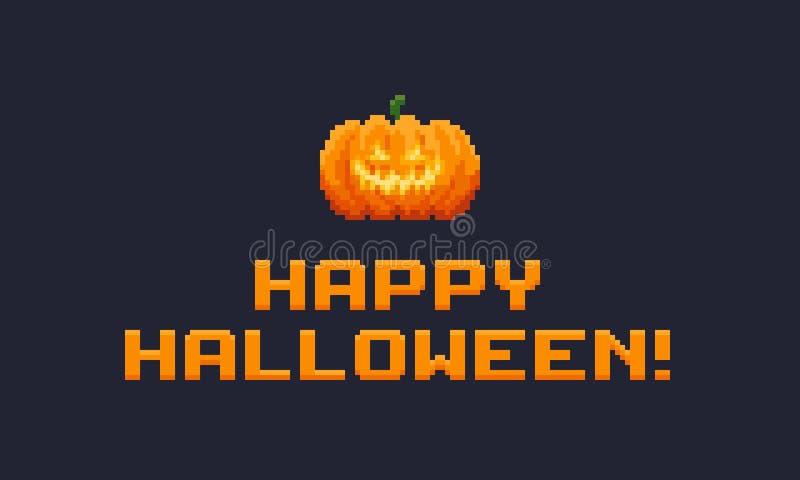 PIXEL Art Halloween vektor illustrationer