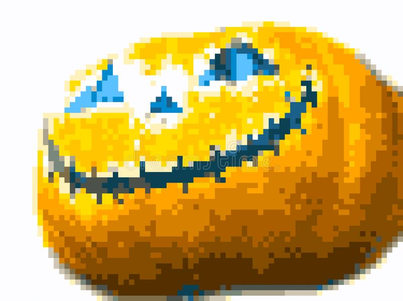 Pixel art halloween pumpkin royalty free stock image