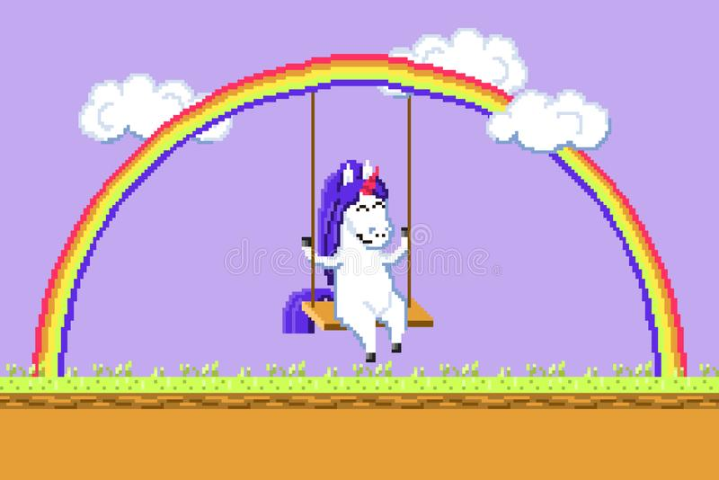 Pixel art happy unicorn riding on a swing hanging on a rainbow vector vector illustration