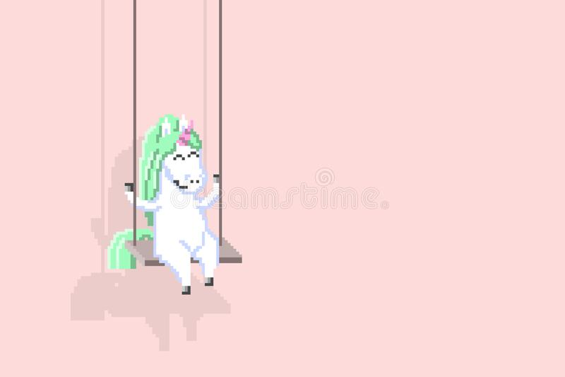 Pixel art happy unicorn riding on a swing, vector royalty free illustration