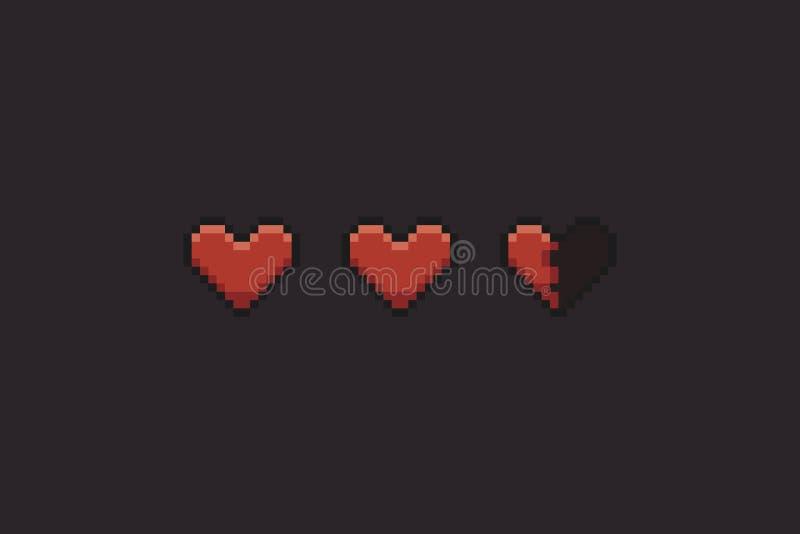 Pixel Art Hearts royalty illustrazione gratis