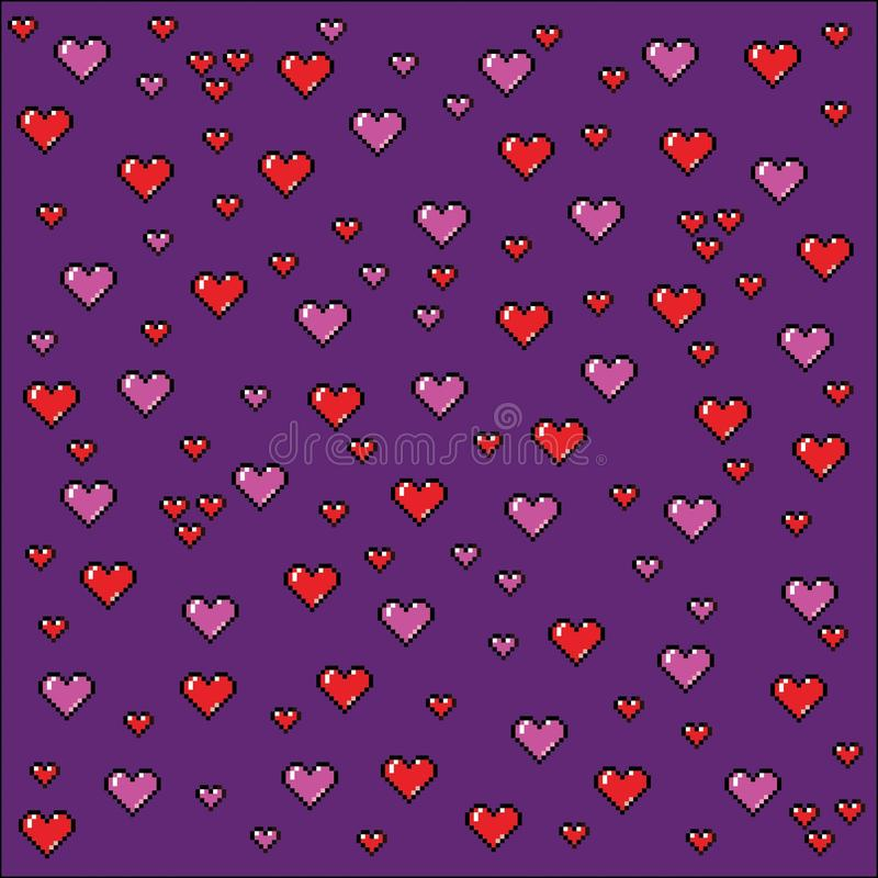 Pixel art hearts background, video game style illustration royalty free illustration