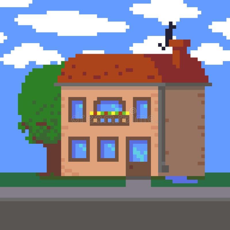 Pixel Art House illustration libre de droits