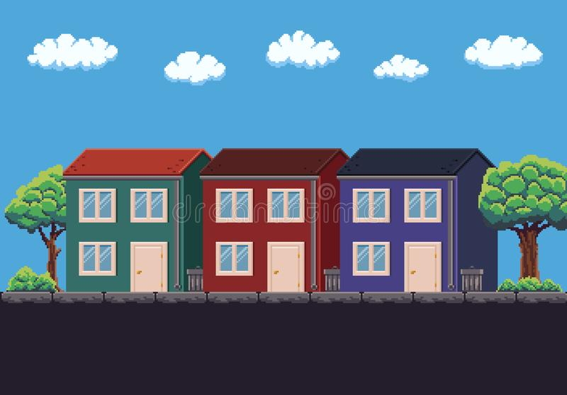 Pixel Art House illustration stock