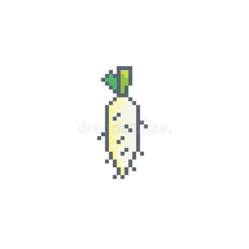 Pixel art turnip icon. royalty free illustration
